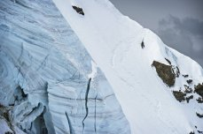 Climbing Fletschhorn North Face while filming for Shades of Winter 2, Photographer: Sebastian Marko