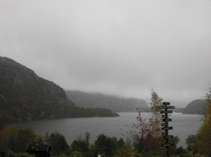 Lysefjord... somewhere in the fog - Preikestolen...